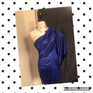 Adrianna Papell Blue Satin & Black Sequin Dress